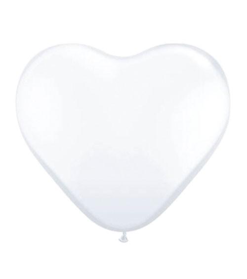Herz-Luftballons - 25 cm - weiß - 6 Stück