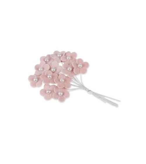 Kleine Blumen aus Velour mit Perle - rosa - 12 Stück