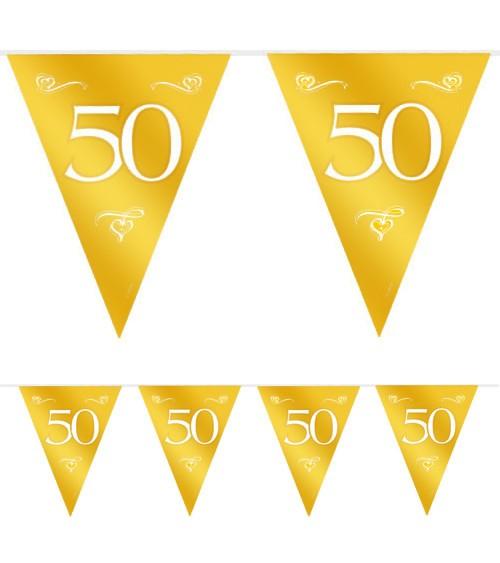 """Wimpelgirlande aus Kunststoff """"50"""" - gold - 10 m"""
