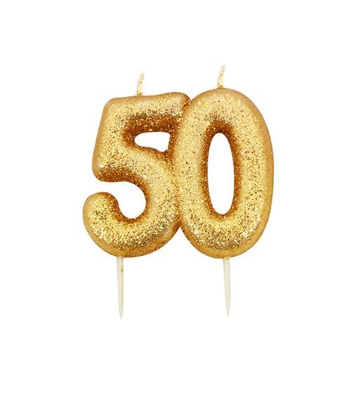 """Geburtstagskerze mit Glitter """"50"""" - gold"""