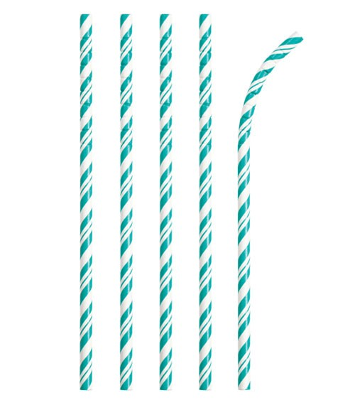Flexible Papierstrohhalme mit Streifen - teal - 24 Stück