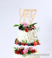 "Cake-Topper ""She said Yes"" aus Holz"