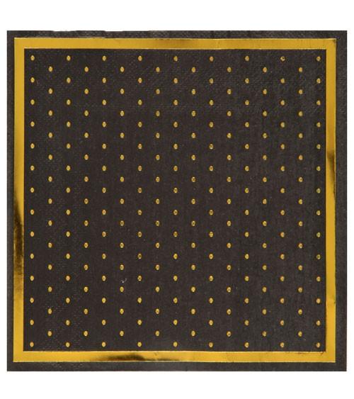 Servietten mit goldenen Pünktchen - schwarz - 20 Stück
