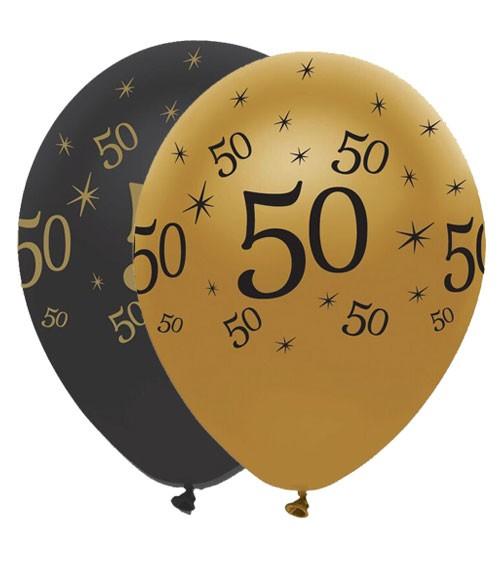"Luftballon-Set ""50"" - schwarz/gold - 6 Stück"