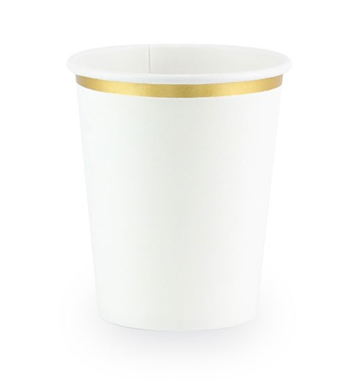 Pappbecher mit Goldrand - weiß - 6 Stück