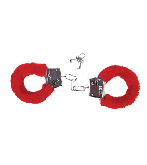 JGA-Handschellen mit rotem Plüsch