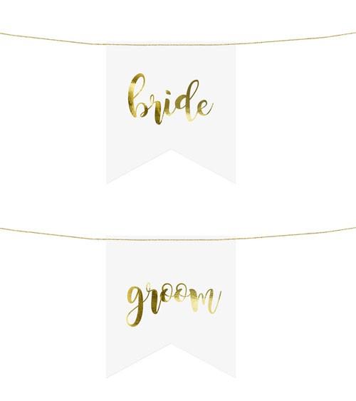 """Stuhlschilder aus Papier """"bride"""" und """"groom"""" - weiß/gold"""