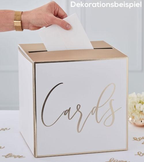 """Hochzeits-Kartenbox """"Cards"""" - weiß/metallic gold - 25 x 25 cm"""