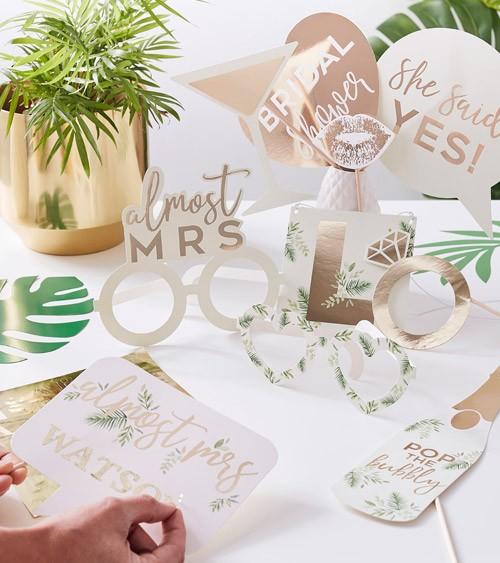 """Photobooth Props mit Stickern """"Botanical Bride"""" - 10-teilig"""