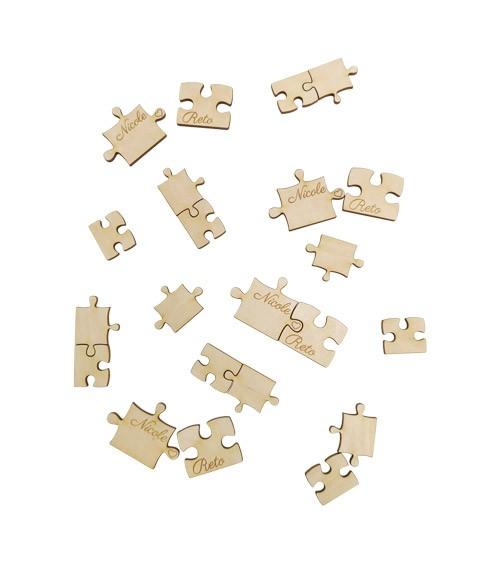 """Deine Streuteile """"Hochzeit Puzzle"""" aus Holz - 22-teilig"""