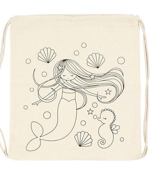 """Turnbeutel zum Ausmalen """"Meerjungfrau"""" - 37 x 41 cm"""