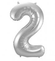 "SuperShape Folienballon ""2"" - silber"