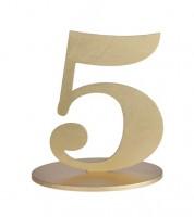 "Zahl aus Holz ""5"" - gold - 11,5 x 16 cm"