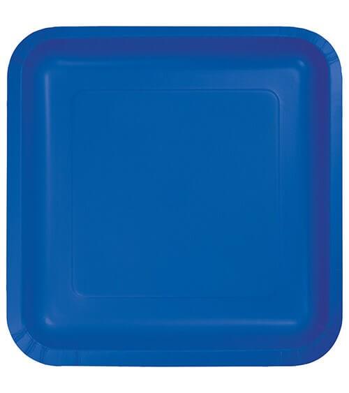 Eckige Pappteller - kobaltblau - 18 Stück