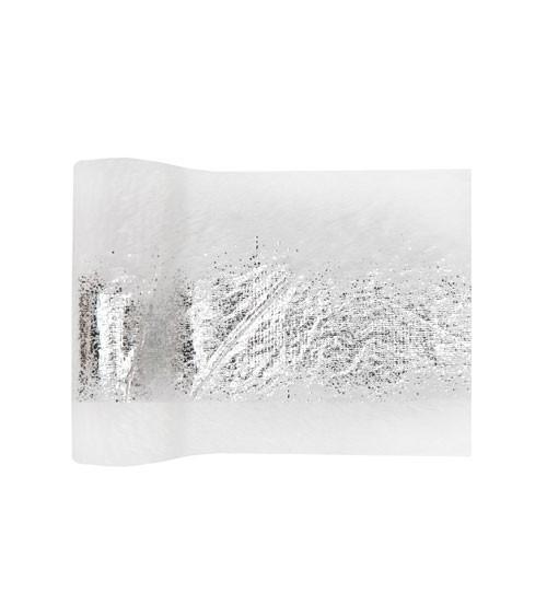 Tischband mit Webpelz und Metallic-Print - weiß & silber - 14 cm x 3 m