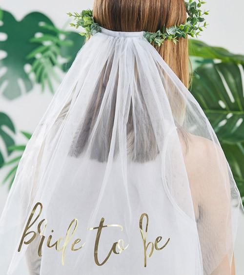 Eukalyptus-Haarkranz mit Schleier und Bride to be-Aufdruck