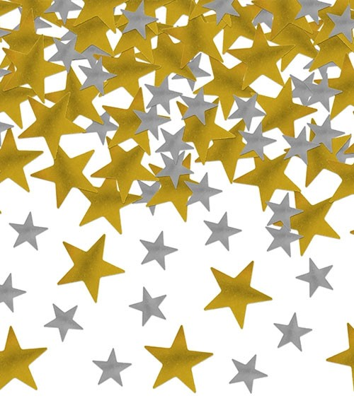 """Metallic-Streukonfetti """"Kleine Sterne - gold/silber"""" - 7 g"""