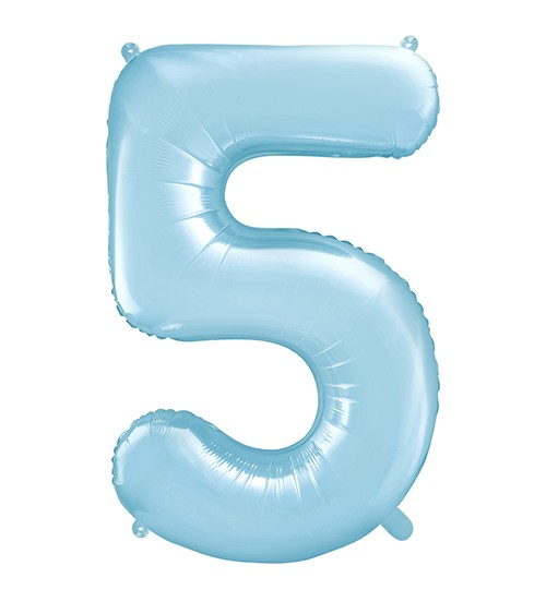 "Supershape-Folienballon ""5"" - pastellblau - 86 cm"