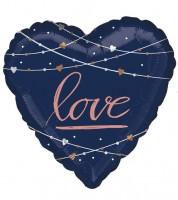 "Jumbo Herz-Folienballon ""love"" - navy & rosegold - 71 cm"