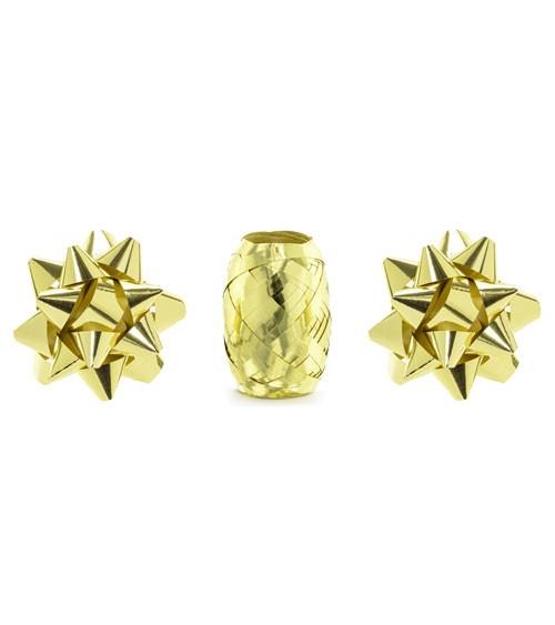 Geschenkband & Schleifen-Set - metallic gold - 3-teilig