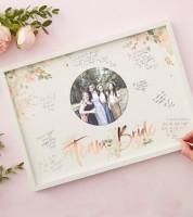 """Bilderrahmen-Gästebuch mit Fotoeinsatz """"Team Bride"""" - 44 x 32 cm"""