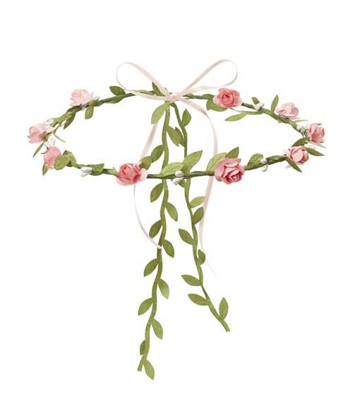 Blütenkranz mit Satinband - rosé - verstellbar