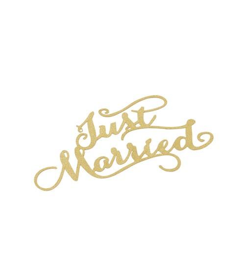 """Papier-Deko """"Just Married"""" - gold - 14,5 x 9 cm - 3 Stück"""
