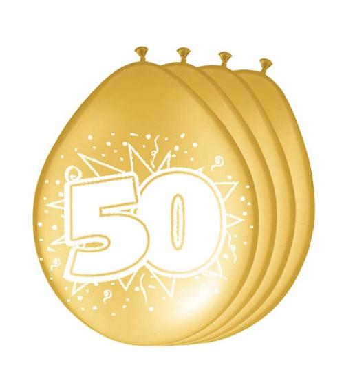 "Metallic-Luftballons ""50"" - gold - 8 Stück"