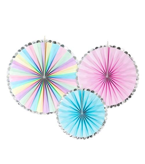 Rosetten-Set - pastell/silber-glänzend - 3-teilig