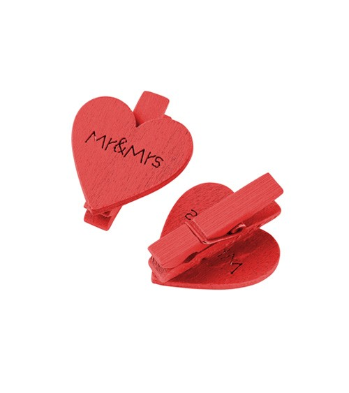"""Herz-Klammern aus Holz """"Mr & Mrs"""" - rot - 3 cm - 4 Stück"""