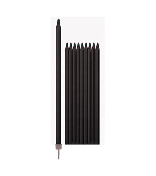 Lange Kuchenkerzen - schwarz - 15,5 cm - 10 Stück