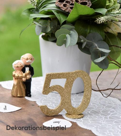 """Tischaufsteller """"50"""" - gold - 11 x 10 cm"""