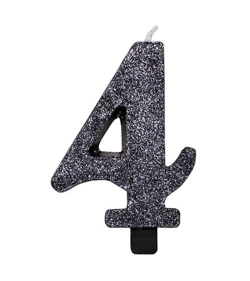 """Geburtstagskerze mit Glitter """"4"""" - schwarz"""