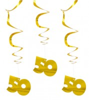"Metallic-Spiralgirlanden ""50"" - gold - 3 Stück"