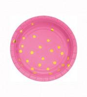 Kleine Pappteller - candy pink/gold - 8 Stück