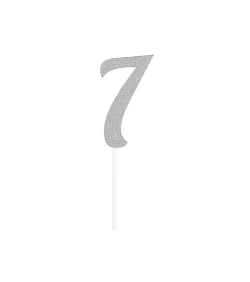 """Kuchen-Topper-Zahl aus Pappe """"7"""" - glitter silber - 4,5 x 8,5 cm"""
