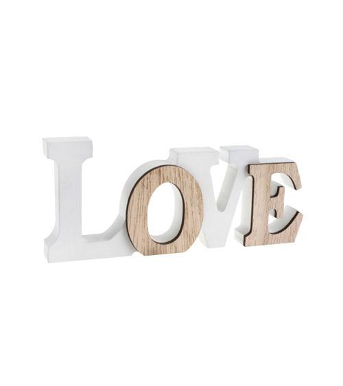 """Schriftzug aus Holz """"Love"""" - weiß, natur - 14 x 6 cm"""