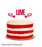 "Cake-Topper-Set mit roten Herzen ""Love"" - 5-teilig"