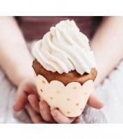 Cupcake-Wrapper mit goldenen Sternen - hellpfirsich - 6 Stück