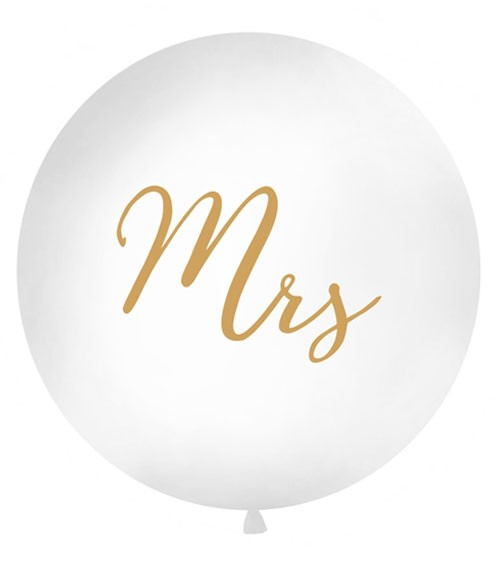 """Riesenballon """"Mrs"""" - weiß/gold - 1 m"""