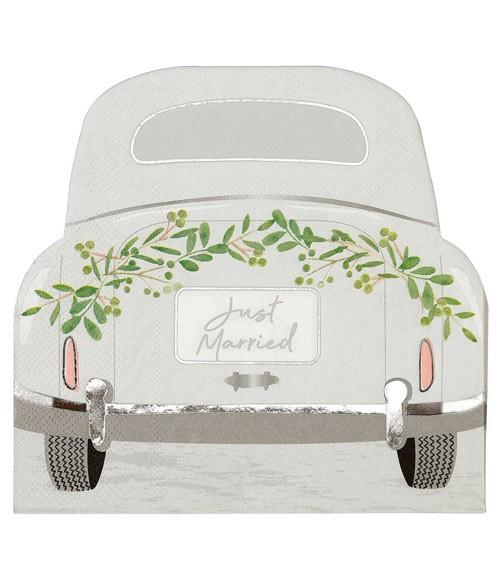 "Shape-Servietten Hochzeitsauto ""Just Married"" - 16 Stück"