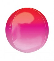 "Orbz-Folienballon ""Ombre"" - rot-rosa - 38 x 40 cm"