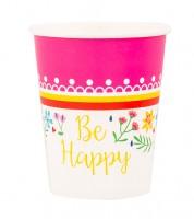 """Pappbecher """"Be Happy"""" - 8 Stück"""