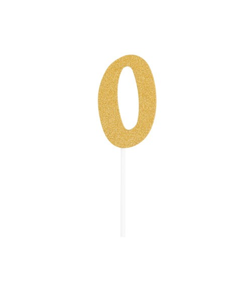 "Kuchen-Topper-Zahl aus Pappe ""0"" - glitter gold - 5 x 8 cm"