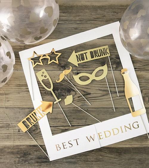 "Photobooth-Set mit Luftballons ""Best Wedding"" - 12-teilig"