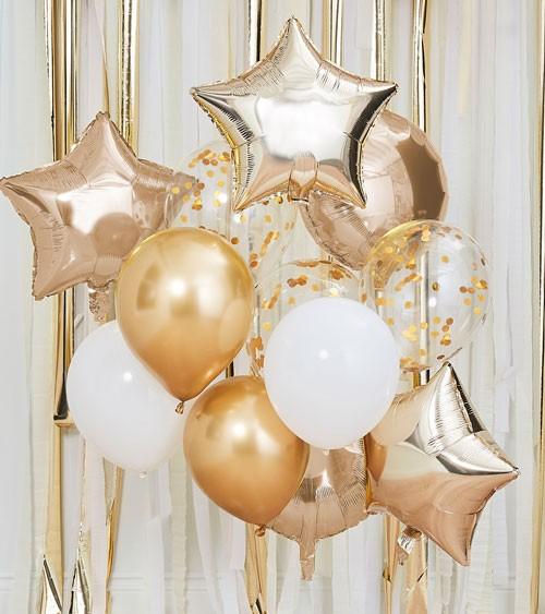 "Ballon-Set ""Mix it up"" - gold & weiß - 12-teilig"