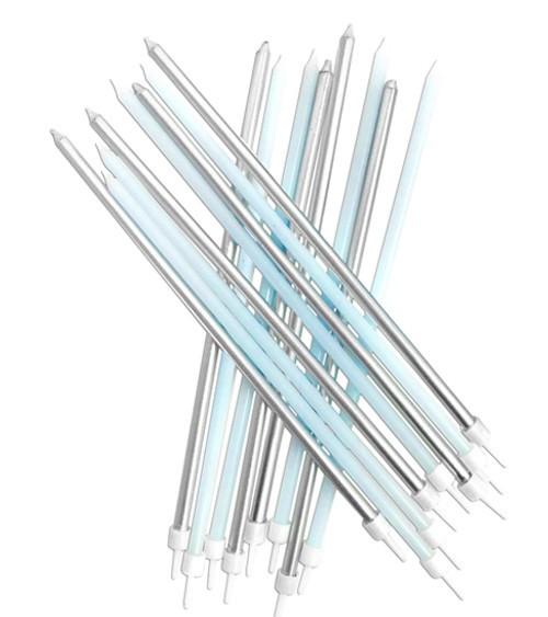 Extra lange Kuchenkerzen - pastellblau/silber - 16 Stück