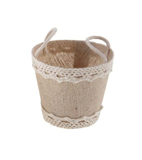 Gastgeschenk-Körbchen aus Stoff mit Spitze - natur - 4 Stück