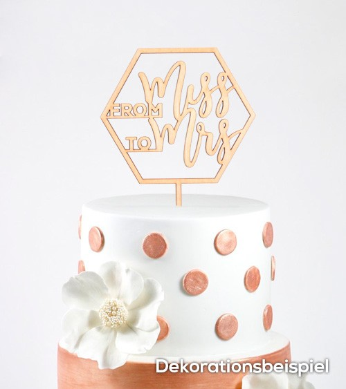 "Cake-Topper ""From Miss to Mrs"" aus Holz"