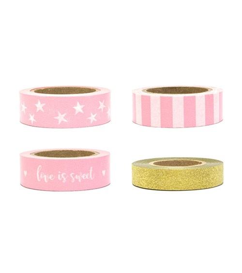 Masking-Tape - glitter gold/rosa - 4 Stück